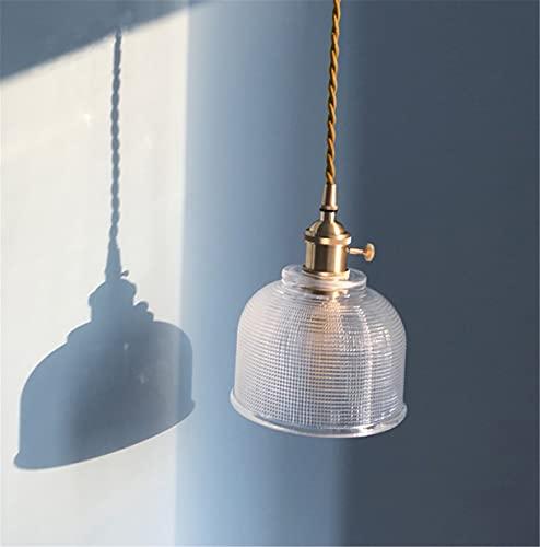 OMGPFR Lampada a Sospensione Vintage, Paralume in Vetro Lampadario Lampada Creativa in Rame Piccolo Luci Altezza Regolabile 1,5 m Illuminazione a Moderna per Bar a soppalco