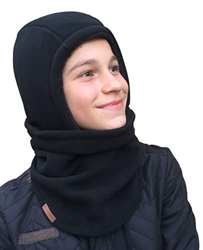 Hilltop Polar Balaclava/Sturmhaube/Gesichtsmaske mit Teddy-Fleece für Kinder bzw. Jugendliche, Farbe/Design:Schwarz