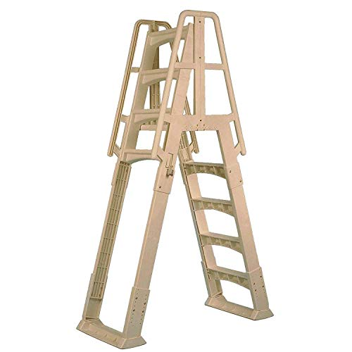 Vinyl Works A Frame Ladder with Barrier for Swimming Pools 48 to 56' Tall, Taupe