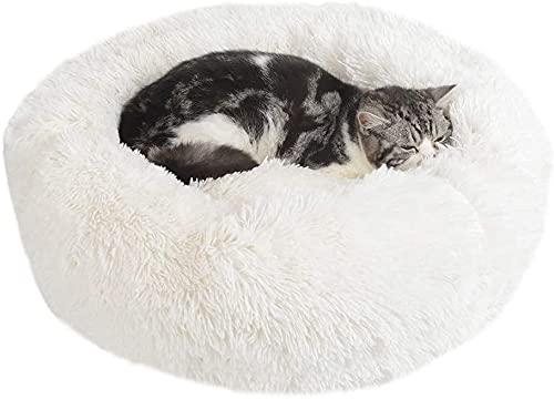 Kohza Cama para perros y gatos, lavable, con forma de donut suave, redonda, cojín para perros, sofá para perros, cama antideslizante para perros pequeños, medianos y gatos
