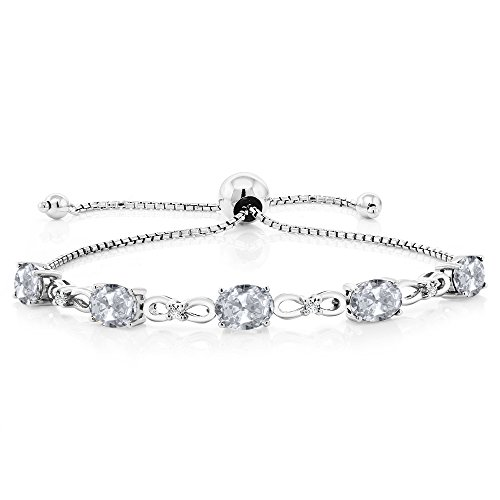Gem Stone King 925 Sterling Silver Adjustable Lab Grown Diamond Tennis Bracelet 4.75 ct Oval White Topaz