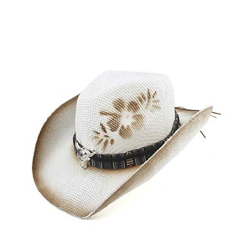 Hat Partei, Populäre neue Art- und Weisemänner höhlen westlichen Cowboyhut-handgemachte Webart-Stroh-Dame Dad Sombrero Hombre Cowgirl-Jazz-Kappen-Stier-Hauptband aus ( Farbe : Weiß , Größe : 56-58 )