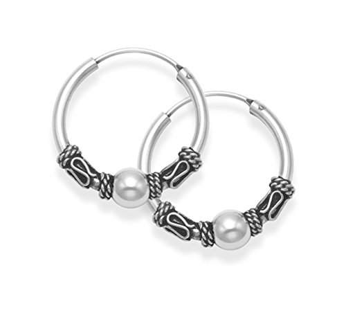 Heather Needham Sterling Silver Bali Hoop earrings, Ball & twist wires - Size: 19mm. Good quality 2.7gms. 6210
