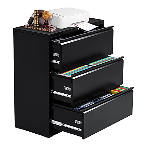 3 Drawer Black Lateral File Cabinet, Steel Lateral Filing Cabinet with Lock for Legal and Letter Size, Lockable Metal Office File Cabinets with 4 Adjustable Hanging Bars and 2 Keys (Metal Fame)