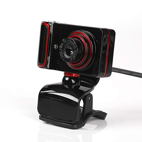 KKmoon - Webcam S10, USB 2.0, hochauflösend / HD, 16 MPixel, mit integriertem Mikrofon (10 m), 3 LEDs, Auflösung 640 x 480, schwenkbar, für Skype, Laptop, Desktop-PC, TV - schwarz + rot NOIR+ROUGE