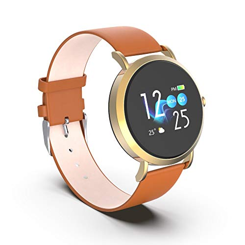 OPTA RSB-091 Leather Bluetooth Fitness Band Smart Watch for AndroidiOS Devices, Medium (Brown)