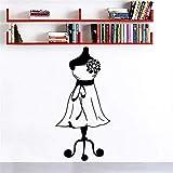 Wandtattoos Kleid Mädchen Wandkunst Wandbild Dekor Schaufensterpuppe Näherin Mode Wandaufkleber Schneider Shop Stoffständer Wandtattoo Größe 21 * 57Cm