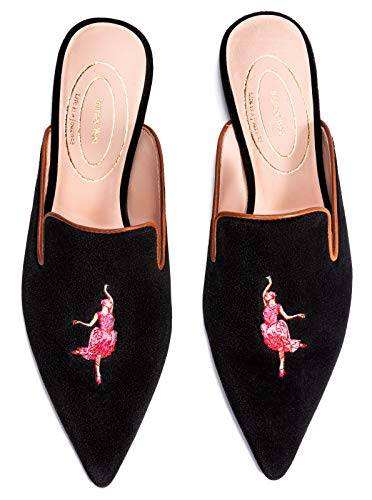 Journey West Women's Pointed Toe Mule Flats Slippers Shoes with Mini Heel Dancer Black US 8