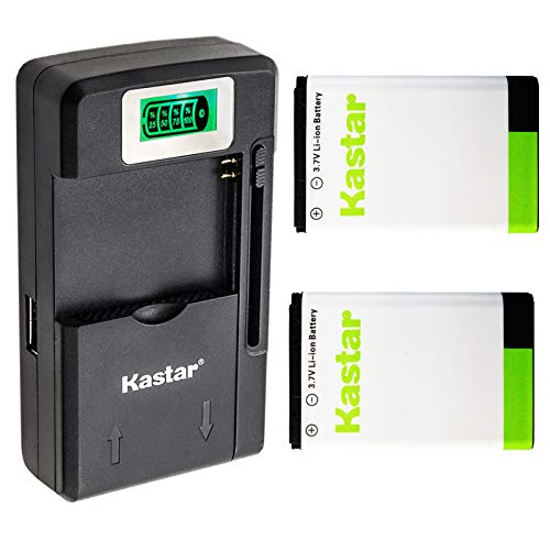 Kastar BL-5C Battery 2-Pack and Intelligent Mini Travel Charger for Shortwave All Hazard Radio, V-115 Portable Shortwave Transistor Radio AM/FM Stereo, Meloson Enhanced Portable AM FM Weather Radio