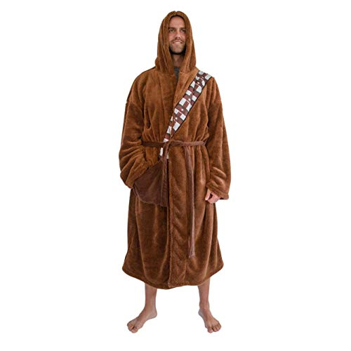 Star Wars Chewbacca Bathrobe For Men And Women   Big and Tall Plush Robe for Adults   Lightweight Spa Bathrobe   Hooded Shower Robe With Belt   Plus Size XXL