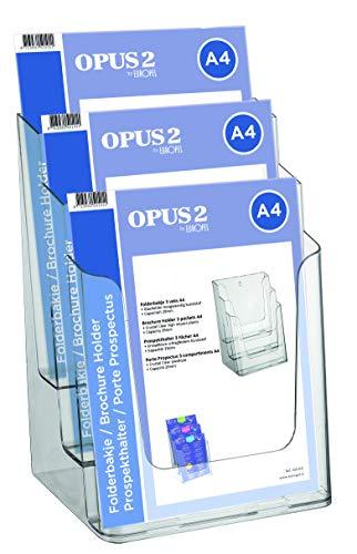 OPUS 2 Etagen Prospekthalter Aufsteller - Injektion Mehrfach-Prospektständer - 3x DIN A4 - Transparent - Broschürenständer für Büros - Broschürenhalter im Hochformat für Menü, Faltblatt, Flyer