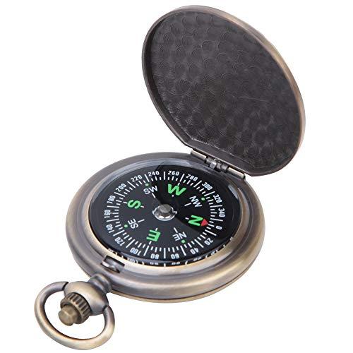 DaMohony J35A Vintage Portátil Aleación de Zinc Flip-Open Pocket Reloj Brújula para Herramientas de navegación al aire libre