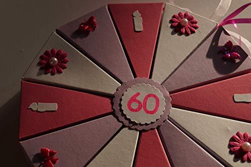 Geldgeschenk, 6 Tolle Torte Geldgeschenkverpackung aus Papier zum 60. Geburtstag, Geld verschenken, Geschenkverpackung