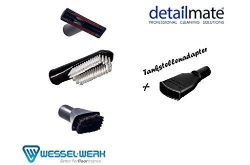Wessel Werk Detailmate Autopflege Carwash Bürsten Saugpinsel, Universalbürste, Polsterdüse, Tankstellen Sauger Adapter, Hundestriegel Set alle Bürsten Adapter
