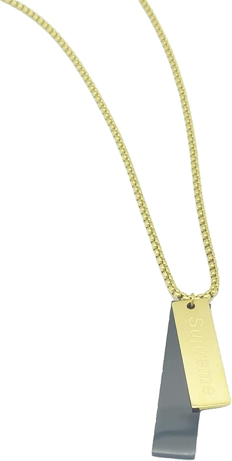 DOEPC gold plated pendant necklace, made of titanium steel for women, girls, boys and men, the color will hold well