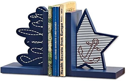 LQ Libro Finalizar Decorative Sookends Blue Ocean Children's Study Room Bookend Bookend Dibujos Animados Escritorio de Madera Soporte Soporte Soporte Soporte Soporte para Libros Tapón Libro Carpeta