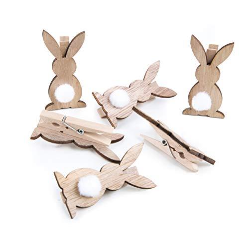 Logbuch-Verlag - Mollette Decorative a Forma di Coniglietto Pasquale, in Legno, Decorazione per Pasqua