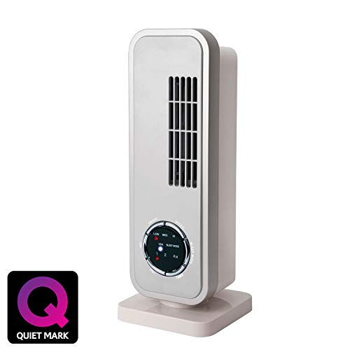 NSAuk MTF-18S Mini Tower Fan with Ioniser and Quiet Mark Approval, Sleep Mode, Silent Oscillation, 35 W, White/Silver