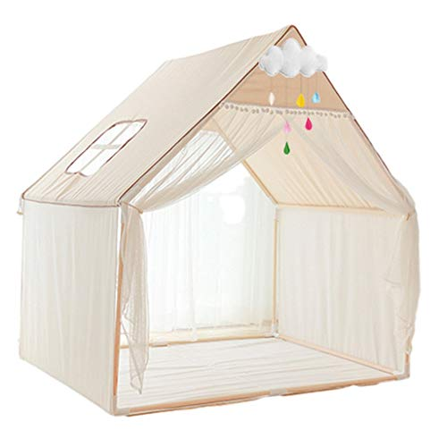 Tents White Play with Cute Cloud Decorations, Nap for Kids, Baby's Toy Room, Birthday Present for Boys and Girls (Color : White, Size : 138 * 95 * 135CM)