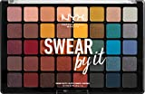 NYX Professional Makeup Paleta de sombra de ojos Swear By It Eye Shadow Palette, Tonos fríos y cálidos, Acabado mate, satinado y metalizado, 40 Colores