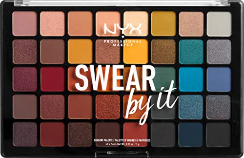 NYX Professional Makeup Swear By It Eye Shadow Palette, Warme und kalte Farbtöne, Matt, satiniert und metallic, 40 Farbtöne