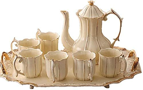 FGDSA Tea Coffee Cup Set 8 Pieces Gold Trim Glazed Porcelain Coffee And Tea Service Set With 6 Piece Cups And Teapot Tray Afternoon Tea Drinkware Coffee Set