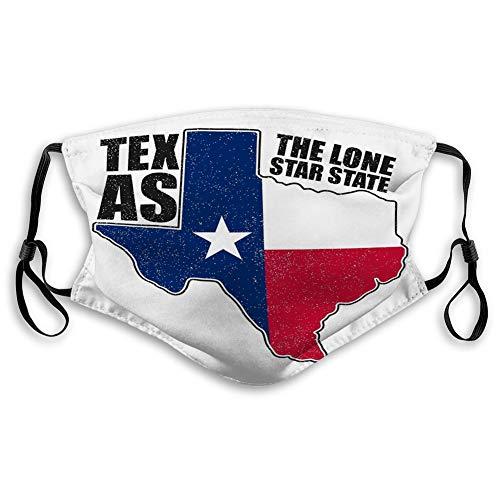 Masken Gesicht und Nase Abdeckung Weiche Mund Maske Texas Typografie Flagge Karte Zustand Grunge Print Kleidung Kleidung Texas Typografie