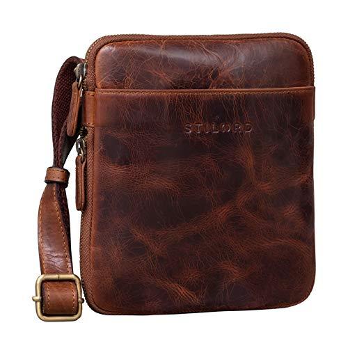 STILORD  Carson  Borsa Uomo Piccola in Pelle Borsello Vintage Quadrato per Tablet Retrò con Tracolla Messenger bag, Colore:kara - cognac