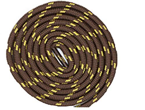 Boowhol 1 Paire de Lacets Ronds Largeur 4.5 MM résistant à l'usure différentes Couleurs et Longueurs Idéal pour Les Sports (Brun Jaune, 100 CM)
