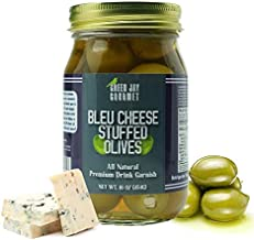 Green Jay Gourmet Blue Cheese Stuffed Olives – Cheese Stuffed Green Olives for Cocktail Garnish & Cheese Board – Dirty Martini Olives – Gourmet Olives – All Natural – Large – 16 Ounces
