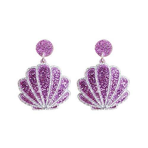 RUIZHEN Enamel Sea Shell Nautical Sea Beach Stud Earrings (purple)
