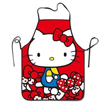 JUCHen Hello Kitty Red Background Kitchen Apron Professional Bib for Men and Women Anti-Stain Hem Apron Waterproof Apron