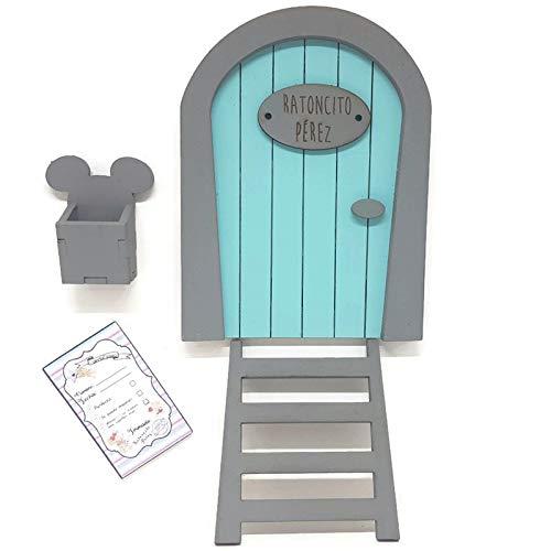 Puerta Ratoncito Pérez azul de madera,con escalera,buzón y certifica