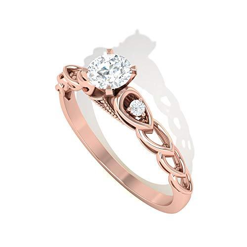 0.29 ct IDCL zertifizierter Moissanit Perlen Gravur Ring, DEF-VS1 Farbe Klarheit Edelstein Gold Blütenblatt Frauen Ring, Statement Braut Hochzeit Versprechen Ring, 14K Roségold, Size:EU 52
