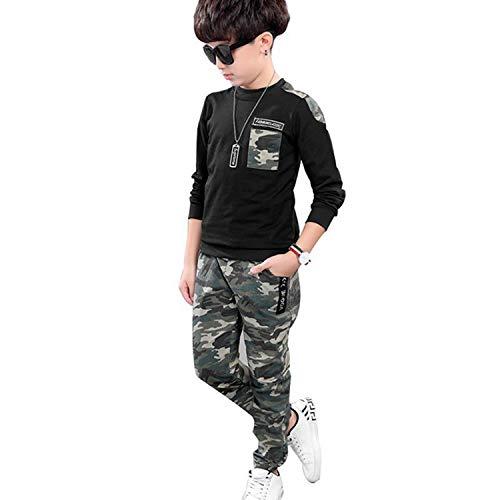 Jungen Schwarz Langarm T-Shirt + Camouflage Hosen, 2-teiliges Bekleidungssets für Kinder, Schwarz, Etikettengröße: 150