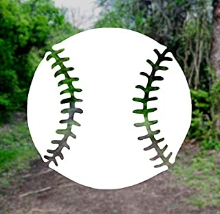 Baseball Silhouette [Pick Any Color] Vinyl Transfer Sticker Decal for Laptop/Car/Truck/Window/Bumper (3in x 3in (Laptop Size), White)