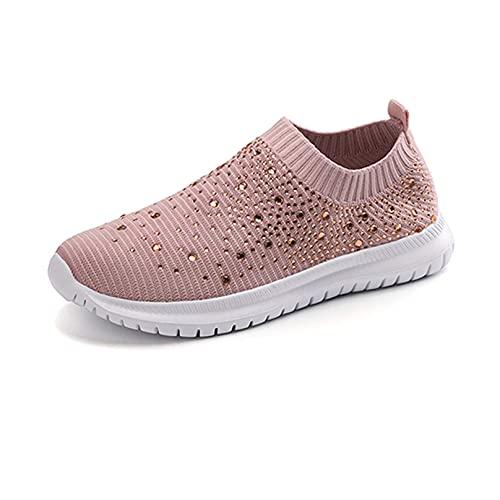 Zapatos para Caminar ortopédicos Transpirables de Cristal para Mujer, Mocasines con Diamantes de imitación Brillantes, Soporte de Arco Ultraligero y Transpirable (Pink,40)