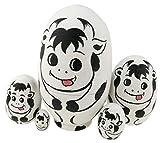 Cxjff Set 5 Piezas de Animal Lindo de la Vaca temático Forma del Huevo de apilamiento Juguete de Madera Hecho a Mano muñecas de la jerarquización de Huevo de Pascua de los niños
