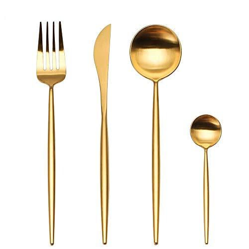 LEKOCH 4-pezzi 18/10 posate in acciaio inox tra cui forchetta cucchiaio coltello posate Set per 1 (d'oro)