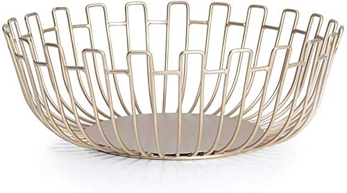 Lechesis Gold Wire Fruit Basket Bowl Countertop - 10.8' Large Metal Decorative Fruit Bowl Storage Basket Container for Kitchen Counter Dining Table Centerpiece Holder for Bread Snacks