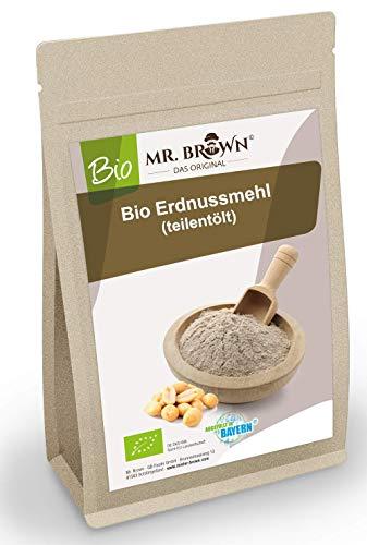Mr. Brown BIO Erdnussmehl teilentölt 1000g | Erdnuss Pulver | fein gemahlen | produziert in Bayern | Mehl