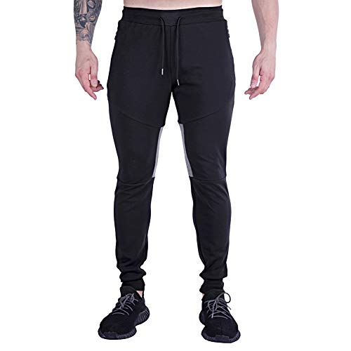 GANSANRO Mens Joggers Sweatpants Men's Slim Fit Athletic Running Pants, Black Sweatpants for Men with Zipper Pockets, Medium