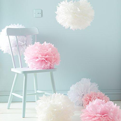 Lights4fun 9er Set Seidenpapier Pompoms weiß rosa crème Hochzeit Party Deko
