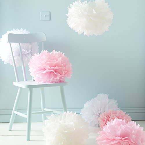 Lights4fun Conjunto de 9 Pompones de Papel de Seda de Color Blanco, Rosa y Crema