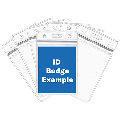Vertical Name Tag Badge ID Card Holder - Heavy Duty Clear Plastic Cover Sleeve Pouch with Waterproof Type Resealable Zip | Dual-Use Hanging Holes Name Badge Inserts - 10 Piece Pack, 7x11cm