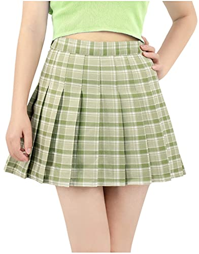 DAZCOS US Size 0-22 Plaid Skirt High Waist Japan Uniform Style with Shorts for Women (Small, Green)