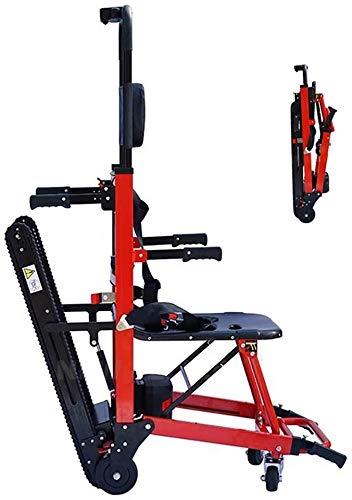 GLJY Medizinische Treppenbahre, zusammenklappbare elektrische Treppe Kletterrollstuhl Krankenwagen Rollstuhl Neue Ausrüstung Notfall, Sicherheitsgurt, Rot