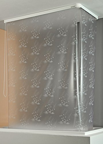 ECO-DuR  4024879001636 Kassetten ECK Duschrollo 137 x 62 cm silber - Tropfen weiß
