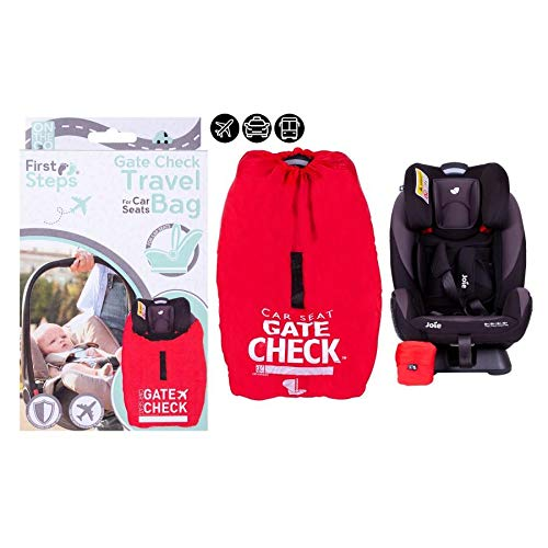 Baby Car Seat Travel Bag Gate Way Check Protector for Standard Car Booster Airplane Travel Holiday Waterproof Universal Size Easy to Use Red Sack.