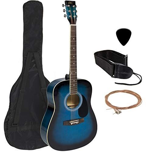 "Full 41"" Acoustic Guitar with Guitar Case & More Accessories Combo Kit Guitar Blue"